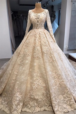 Glamorous Ball Gown Scoop Long-Sleeves Appliques Wedding Dresses_1