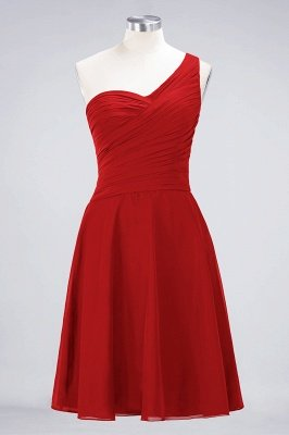 A-Line One-Shoulder Sweetheart Sleeveless Knee-Length  Bridesmaid Dress with Ruffles_8