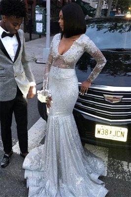 Stylish Mermaid V-Neck Long-Sleeves Sequins Floor-Length Prom Dresses_1