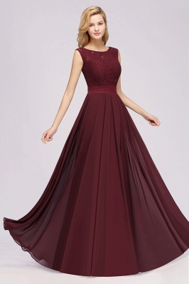 Simple A-Line Chiffon Bridesmaid Dresses   Scoop Sleeveless Lace Appliques Maid of the Honor Dresses_5