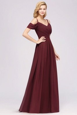 A-Line  V-Neck Spaghetti Straps Short-Sleeves Floor-Length Bridesmaid Dresses with Ruffles_5