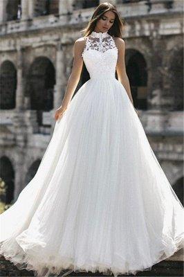 Glamorous  Floor-Length High-Neck Sleeveless Appliques  A-Line Wedding Dresses_4