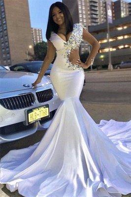 Stunning Mermaid V-Neck Lace Rhinestones Sweep-Train Prom Dresses_1