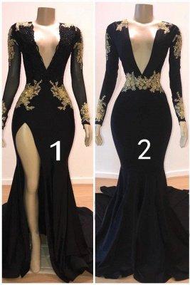 Charming Mermaid V-Neck Long-Sleeves Appliques Floor-Length Prom Dresses_1