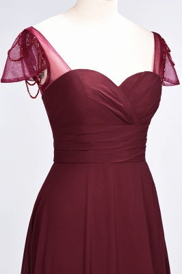 A-Line Sweetheart Cap-Sleeves Ruffle Floor-Length  Bridesmaid Dress with Beadings_6