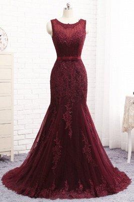Glamorous Mermaid  Scoop Sleeveless Appliques Sequins Zipper Prom Dresses_1