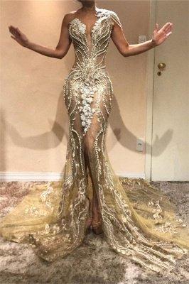 Elegant A-Line One-Shoulder Beading Appliques Front-Split Prom Dresses_1