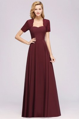 A-Line Chiffon Bridesmaid Dresses | Sweetheart Cap Sleeves Lace Wedding Party Dresses_25