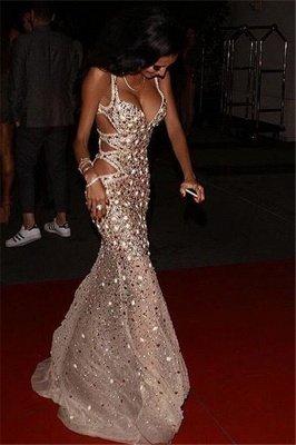 Unique Sheath Spaghetti-Straps Rhinestones Sleeveless Front-Split Floor-Length Prom Dresses_3