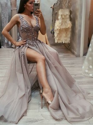 Unique A-Line Straps Sleeveless Front-Split V-Neck Floor-Length Prom Dresses_1