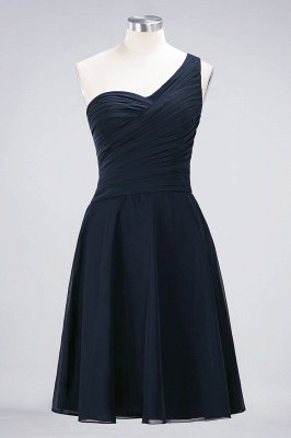 A-Line One-Shoulder Sweetheart Sleeveless Knee-Length  Bridesmaid Dress with Ruffles_27