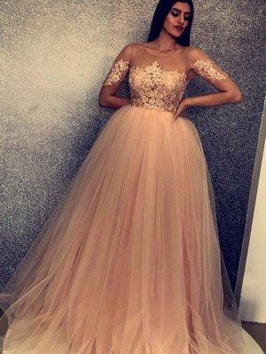 Unique A-Line Scoop Short Sleeves Appliques  Floor-Length Prom Dresses_3