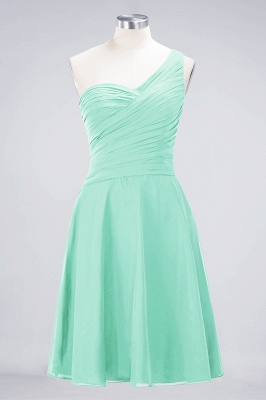A-Line One-Shoulder Sweetheart Sleeveless Knee-Length  Bridesmaid Dress with Ruffles_34