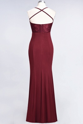 Mermaid Spaghetti-Straps Sleeveless Floor-Length spandex Lace Bridesmaid Dress with Ruffle_32