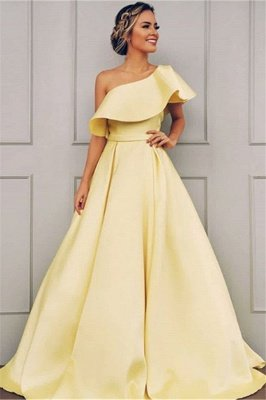 Glamorous A-Line One-Shoulder Sweep-Train Prom Dresses BC0958