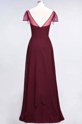 A-Line Sweetheart Cap-Sleeves Ruffle Floor-Length  Bridesmaid Dress with Beadings_3