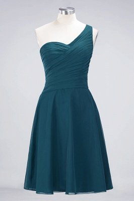 A-Line One-Shoulder Sweetheart Sleeveless Knee-Length  Bridesmaid Dress with Ruffles_26