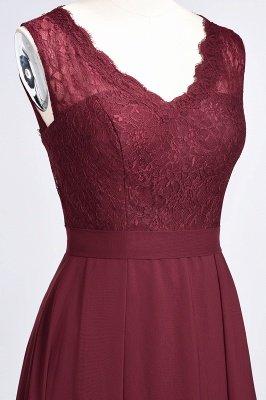 A-Line V-Neck Sleeveless Floor-Length  Lace Bridesmaid Dress_6