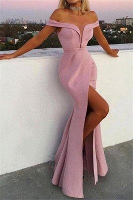 Stylish Mermaid Off-the-Shoulder V-Neck Front-Split Floor-Length Prom Dresses_1
