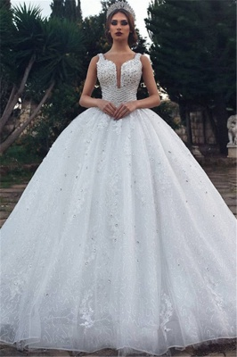 Stylish Ball Gown Straps Sleeveless Appliques V-Neck Rhinestones Wedding Dresses_1