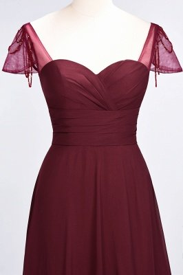 A-Line Sweetheart Cap-Sleeves Ruffle Floor-Length  Bridesmaid Dress with Beadings_5