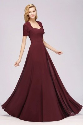 A-Line Chiffon Bridesmaid Dresses | Sweetheart Cap Sleeves Lace Wedding Party Dresses_29