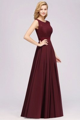Simple A-Line Chiffon Bridesmaid Dresses | Scoop Sleeveless Lace Appliques Maid of the Honor Dresses_4