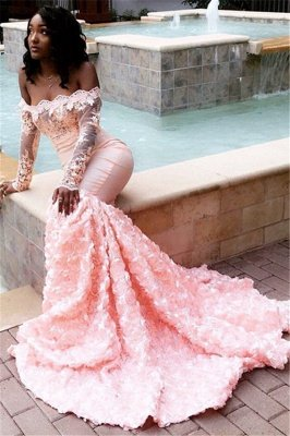 Charming Mermaid Off-the-Shoulder Long-Sleeves Appliques Sweep-Train Prom Dresses