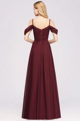 A-Line  V-Neck Spaghetti Straps Short-Sleeves Floor-Length Bridesmaid Dresses with Ruffles_3