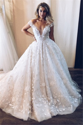 Chic Ball Gown Tulle Off-the-Shoulder V-Neck Appliques Wedding Dresses_1