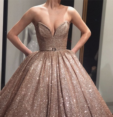 Beautiful Ball Gown Strapless Sleeveless Sweep-Train Prom Dresses_3