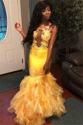 Stunning Mermaid Sleeveless Strapless Appliques  Floor-Length Prom Dresses_1