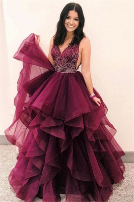 Elegant A-Line V-Neck Sleeveless Appliques Tulle Floor-Length Prom Dresses