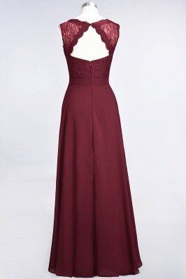 A-Line V-Neck Sleeveless Floor-Length  Lace Bridesmaid Dress_3