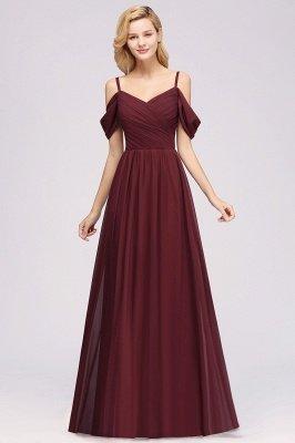 A-Line  V-Neck Spaghetti Straps Short-Sleeves Floor-Length Bridesmaid Dresses with Ruffles_4