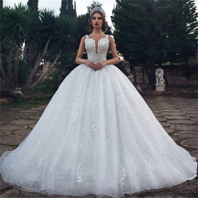 Stylish Ball Gown Straps Sleeveless Appliques V-Neck Rhinestones Wedding Dresses_3