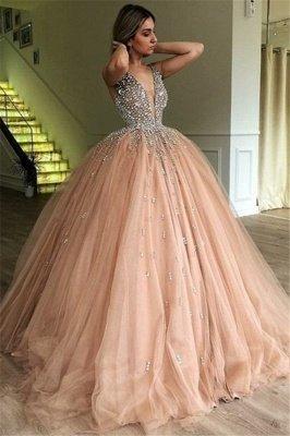 Stunning Ball Gown V-Neck Straps Sleeveless Rhinestones  Prom Dresses BC0971_1