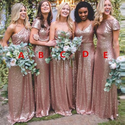Sexy Sequin Bridesmaid Dresses | Rose Gold Long Wedding Guest Dresses_4