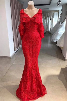Chic Mermaid V-Neck Long-Sleeves Appliques Beading Floor-Length Prom Dresses