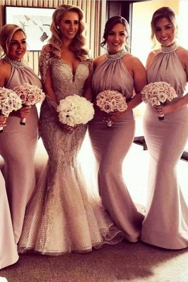 Elegant Halter Mermaid Bridesmaid Dresses | Sexy Ruched Long Wedding Party Dresses_2