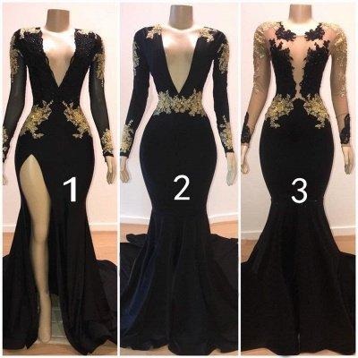 Charming Mermaid V-Neck Long-Sleeves Appliques Floor-Length Prom Dresses_3