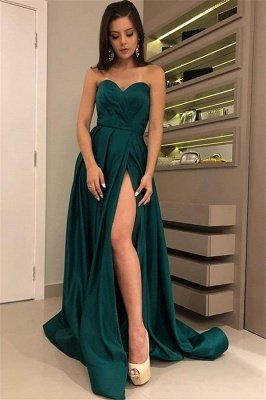 Stunning A-Line Strapless Front-Split Sleeveless Floor-Length Prom Dresses_1