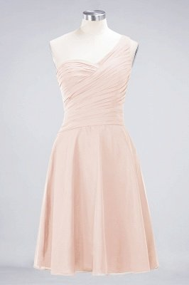 A-Line One-Shoulder Sweetheart Sleeveless Knee-Length  Bridesmaid Dress with Ruffles_5