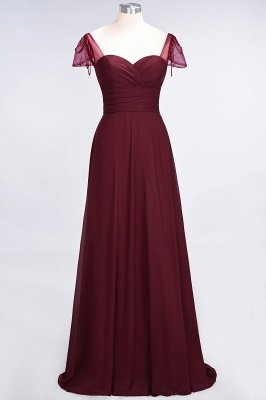 A-Line Sweetheart Cap-Sleeves Ruffle Floor-Length  Bridesmaid Dress with Beadings_2