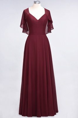 A-Line V-Neck short-sleeves Floor-Length Satin Bridesmaid Dress_2