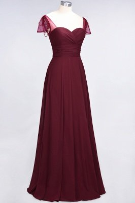 A-Line Sweetheart Cap-Sleeves Ruffle Floor-Length  Bridesmaid Dress with Beadings_4