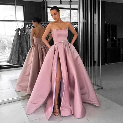 Unique A-Line Sleeveless Strapless Front-Split Zipper Floor-Length Prom Dresses_3