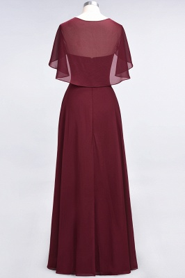 A-Line V-Neck short-sleeves Floor-Length Satin Bridesmaid Dress_3