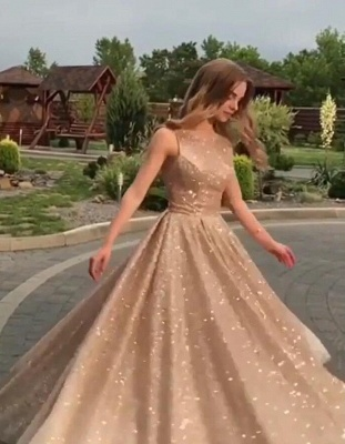2019 Fashion Sleeveless Sequins A-Line Crew Floor-Length Prom Dresses