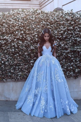 Romantic Ball Gown Prom Dresses Off-the-Shoulder Baby Blue Lace Appliques Evening Gowns_6